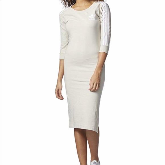 adidas Dresses & Skirts - ADIDAS 3 Stripes Midi Dress Clear Brown